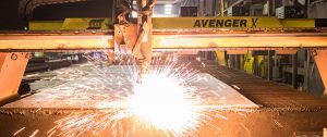 plasma cutter with shower of sparks