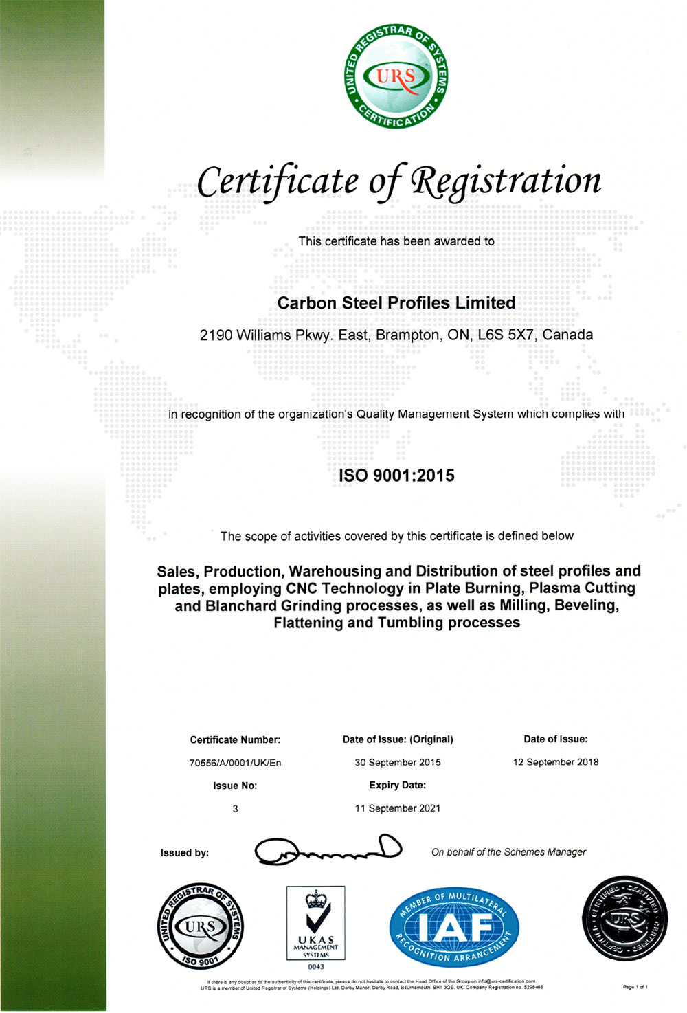 Carbon Steel Profiles Limited ISO Certificate